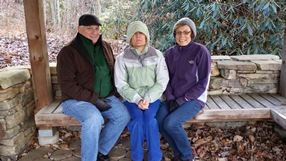 Joe Schlosser, Cindy Strickler and Jeanne Kraak freezing and praying at Ascension Point at the Community of the Cross.  It was while on the mountain praying together that the Holy Spirit revealed the guidance.