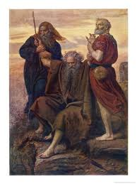 Moses on the Mountain supported by Aaron and Hur with Joshua in the valley fighting at the Battle of Amalek--a model of the prayer we are called to in order to defeat the strongholds of Radical Islam.